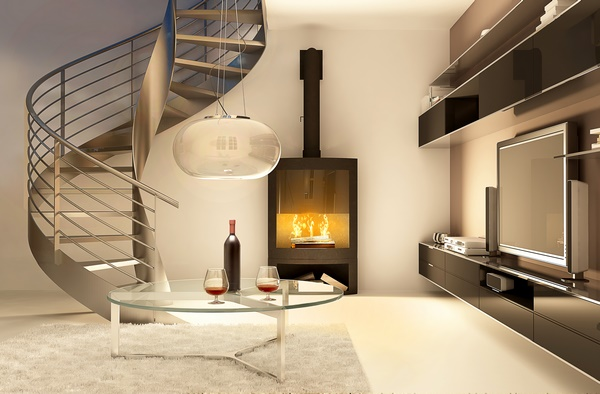 Salon avec un escalier en colimaçon